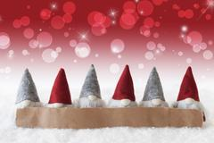 Gnomes, Red Background, Bokeh, Stars, Copy Space Stock Photos