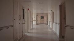 Walk through pink abandoned hospital - sanitarium Stock Footage