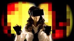 Virtual girl mu pixel story 8-bit Stock Footage
