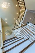 Hardwood stairs Interior design Stock Photos