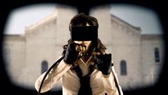 Virtual girl mu public square Stock Footage