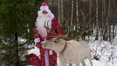 Reindeer with big antlers and Santa Claus in winter forest congratulate kids Stock Footage