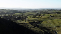 Panning shot of Yorkshire dales landscape near Malham. Stock Footage