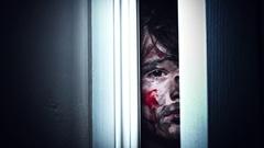 4K Thriller Child Bloody Eye Looking through Door Gap and Shaking Stock Footage