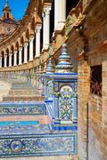 Sevilla also Seville Plaza de Espana square of Andalusia at spain Stock Photos