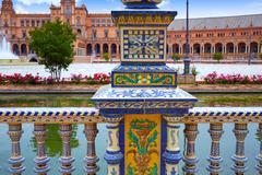Sevilla also Seville plaza de Espana in andalusia of spain Stock Photos