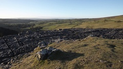 Clear morning over Malham cove and Malhamdale in Yorkashire Dales national park. Stock Footage