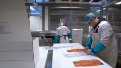 Working Team In A Seafood Processing Factory. Workers pack the fish in plastic. Stock Footage