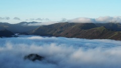 Cloud inversion over Derwent water and Keswick in English lake district. Stock Footage