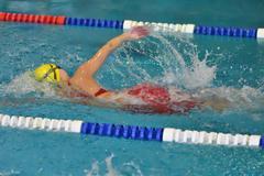 Orenburg, Russia - 13 November 2016: Girls compete in freestyle swimming Stock Photos