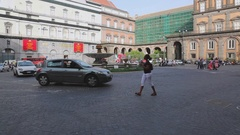 Square in Naples Italy Stock Footage