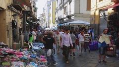 Street Market in Napoli Stock Footage