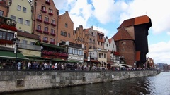 Gdansk Old Town Buildings Seen From Ferry Swimming On Motlawa River Stock Footage