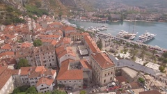 Aerial view on old town Kotor in Montenegro Stock Footage