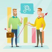 Businessmen discussing market analysis Stock Illustration