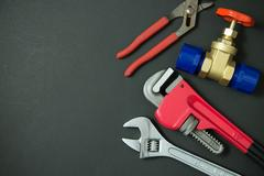 Plumbing tools and materials Stock Photos