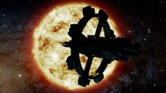 Space Ship and Sun Star. Elements of this image furnished by NASA Stock Footage