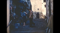 Vintage 16mm film, 1955 France, architecture and people in Nice B-roll Stock Footage
