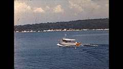 Vintage 16mm film, 1955 France, Cannes harbor B-roll #2 water skiing Stock Footage