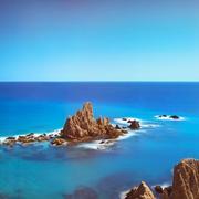 Cliff Rocks and Ocean Andalusia. Cabo de Gata park, Almeria, Spain. Stock Photos
