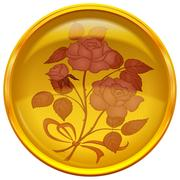 Button with sign of rose bouquet Stock Illustration