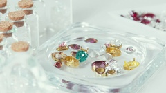 Green, burgundy, yellow gemstone. Supplies for jewelry Stock Footage