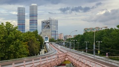 Arriving monorail train on ENEA station in Moscow, Russia Stock Footage