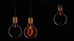 Animation of classic retro lamps with new yeart text inside lamp Stock Footage