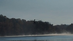 Chinook helicopter with Bambi bucket Stock Footage