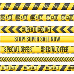 Sale Labels Yellow Line Strip, Tape, Ribbon Set. Vector Piirros