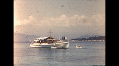 Vintage 16mm film, 1955 France, Nice harbor and couple B-roll Stock Footage
