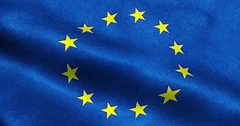 EU flag, euro flag, flag of european union waving Arkistovideo