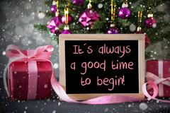 Tree With Gifts, Snowflakes, Bokeh, Quote Always Good Time Begin Stock Photos