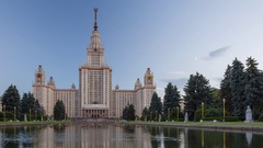 Moscow State University Mgu from day to night view Stock Footage