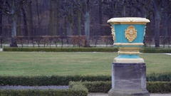 Golden vase pot in Charlottenburg Palace royal gardens, Berlin Stock Footage