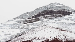 The snowcapped summit of Cotopaxi Volcano Stock Footage