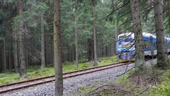 Izerska Railway - a picturesque rail link between Poland and Czech Republic Stock Footage