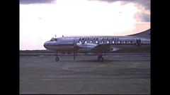 Vintage 16mm film, 1951, Akron Canton airport American Airlines Convair Stock Footage