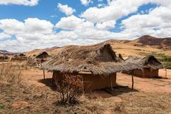 Traditional Madagascar malagasy vilage Mahatsinjo in hill Stock Photos