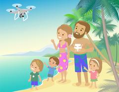 Big family mom dad and three children kids boy girl on vacation seashore ocean Stock Illustration