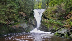 Szklarka Waterfall. The Karkonoski National Park. Poland Stock Footage