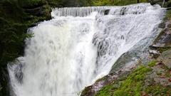 Szklarka Waterfall. The Karkonoski National Park, Poland Stock Footage
