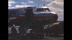 Vintage 16mm film, 1951, American Airlines Convair, boarding and inflight Stock Footage