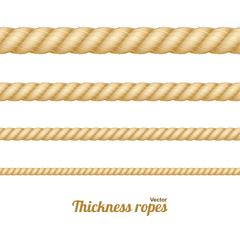 Different Thickness Rope Set. Vector Stock Illustration