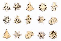 Ornaments christmas decoration wood set on isolated. Stock Photos