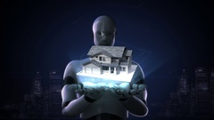 Robot cyborg open two palms, Real estate, constructed house. Stock Footage