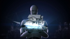 Robot cyborg open two palms, Real estate, constructed house and key. Stock Footage