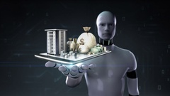 Robot open palm,  real estate application, constructed building city on mobile, Stock Footage