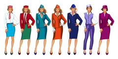 Vector illustration of air hostess in uniform and formal hat. Stewardess on a Stock Illustration