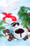 Hot chocolate with spice in the cup Stock Photos